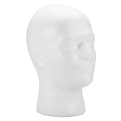 DEWIN Soporte Peluca - Cabeza para Pelucas Soporte de exhibición de la peluca del sombrero de los vidrios de la cabeza del maniquí del maniquí de la espuma masculina 1PC (Blanco)