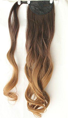 Extensión de pelo ondulado con clip de 50,8 cm de largo, mechas ombré (teñido por inmersión); extensión de pelo para recogidos, coletas