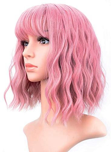 Peluca Mujer Pelo Corto Rosa con Flequillo Estilo Bob Rizada Ondulada a la Altura de los Hombros Sintética de 12 Pulgadas o 30 Centímetros Cómoda y Fácilmente Ajustable