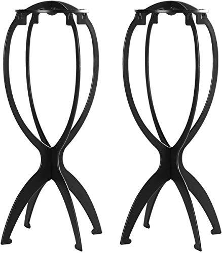 YUNSI Paquete de 2 soportes cortos para pelucas, secador de peluca plegable portátil de 14.2 pulgadas, herramienta de visualización de peluca duradera, soportes para pelucas de viaje, color negro
