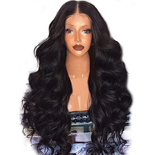 Futaikang - Peluca ondulada de malla frontal con cabello natural genuino para mujer, color negro, cabello humano brasileño