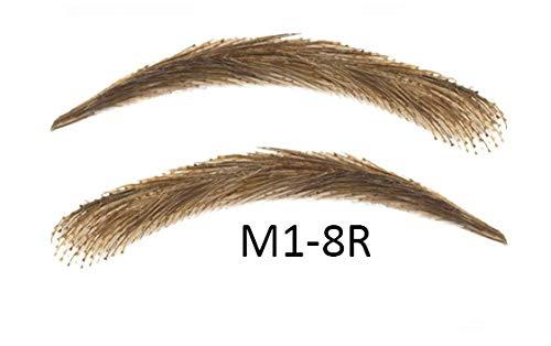 Cejas artificiales, semi permanentes de pelo 100% natural para pegar - hecho a mano (M1-8R)