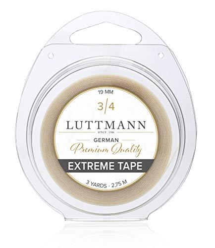 LUTTMANN® Extreme Tape - Cinta adhesiva de 19 mm para sistemas de cabello, piezas de pelo, pelucas, mechones y extensiones