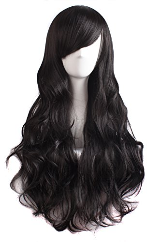 MapofBeauty 70cm/ 28 pulgada Onda larga peluca de pelo rizado completo para la Mujer larga Pelucas (negro)