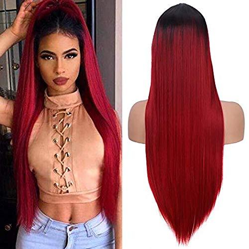YMH PRIDE Pelucas rectas de color negro a rojo vino Ombre para mujeres Peluca de pelo sintético de parte media de aspecto natural (24 pulgadas)