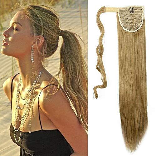 26' 65cm Extensión Clip de cola para el cabello en cabello rubio ceniza - Cola de caballo Recto Largo postizo Cola de caballo Extensiones envolventes 135g