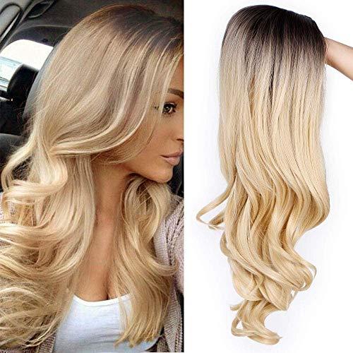 YUNSI Peluca de degradado, color gris plateado, para mujeres, con raíces negras, pelo suelto, ondulada, rizada, para uso en fiestas, Halloween (color gris)