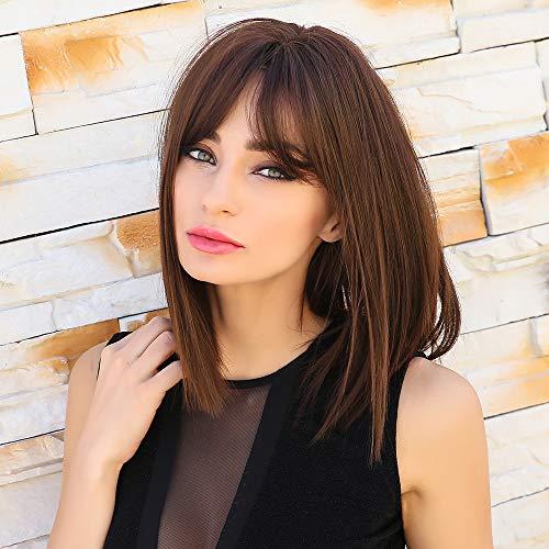 HAIRCUBE peluca marrón peluca bob recta para mujer corta natural con pelucas parte media longitud del hombro peluca sintética para vestido de fiesta de halloween peluca de mujer cosplay…