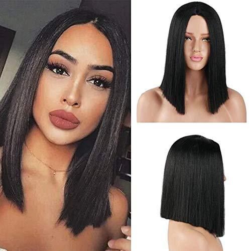 pelo lacio sintético negro corto Bob pelucas peluca de la parte media para mujeres niñas traje diario usar peluca 14 pulgadas