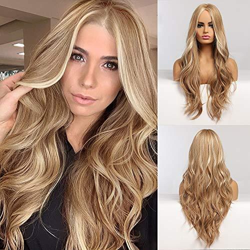EMMOR Peluca rubia larga para mujer - Pelucas de pelo rizado ondulado natural con parte media, uso diario de cosplay para fiestas