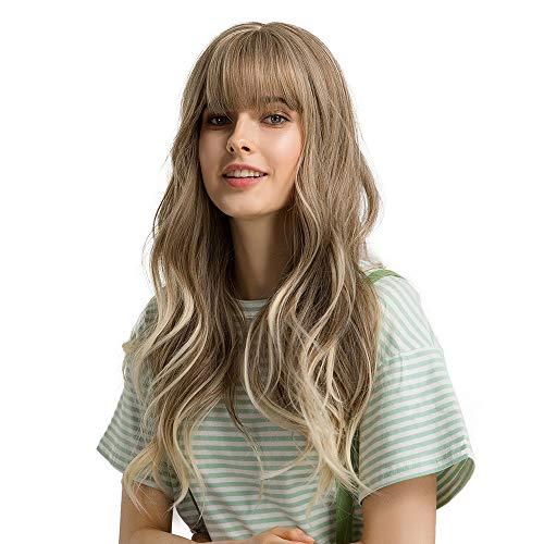 Esmee Peluca Rubio encantadora, peluca larga para mujer, peluca sintética rizada natural resistente al calor, adecuada para mujeres blancas(con flequillo)- 24 pulgadas